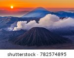 bromo volcano at sunrise  mount ... | Shutterstock . vector #782574895