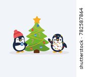 cute penguins. merry christmas... | Shutterstock .eps vector #782587864