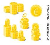 euro coin heaps. exceeding... | Shutterstock .eps vector #782609671