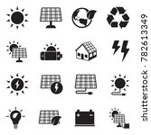 solar energy icons. black flat... | Shutterstock .eps vector #782613349