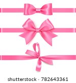 set of decorative pink bow with ... | Shutterstock .eps vector #782643361