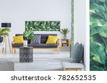 stool in bright living room...   Shutterstock . vector #782652535