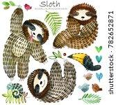 watercolor cartoon sloth... | Shutterstock . vector #782652871