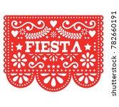 mexican fiesta papel picado... | Shutterstock .eps vector #782660191