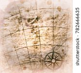 old map with a compass on it  | Shutterstock . vector #782666635