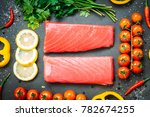 raw tuna fish fillet meat on... | Shutterstock . vector #782674255