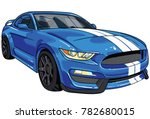 illustration of blue  sport car ... | Shutterstock .eps vector #782680015