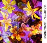 tropical pattern seamless neon... | Shutterstock . vector #782681941