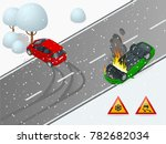 isometric winter slippery road  ... | Shutterstock .eps vector #782682034