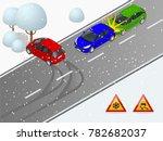 isometric winter slippery road  ... | Shutterstock .eps vector #782682037
