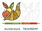 dotted line and coloring crayon ... | Shutterstock . vector #782698099