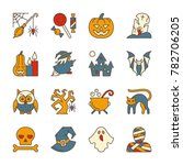 colorful halloween party symbol ... | Shutterstock . vector #782706205