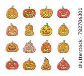 carving face halloween pumpkin... | Shutterstock . vector #782706301