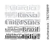 100 biggest countries word... | Shutterstock .eps vector #782708899