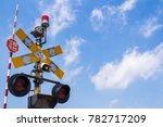 the stop sign at the train... | Shutterstock . vector #782717209