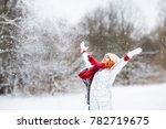 winter lifestyle portrait of... | Shutterstock . vector #782719675