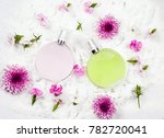 pink perfume bottle with green... | Shutterstock . vector #782720041