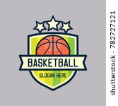 basket ball logo with text... | Shutterstock .eps vector #782727121