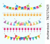 colorful garlands bunting flags ... | Shutterstock .eps vector #782727625