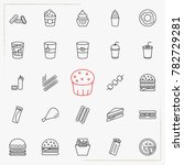 fast food line icons set | Shutterstock .eps vector #782729281