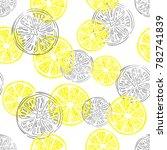 seamless lemon pattern. vector... | Shutterstock .eps vector #782741839