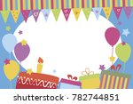 children photo frame with... | Shutterstock .eps vector #782744851