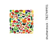 fruit and vegetable... | Shutterstock .eps vector #782749951