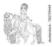 cute princess on horse with a... | Shutterstock .eps vector #782759449
