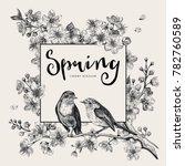 spring. pink cherry blossom... | Shutterstock .eps vector #782760589