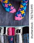 feet selfie with colorful socks ... | Shutterstock . vector #782761495