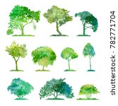 watercolor set of deciduous... | Shutterstock . vector #782771704