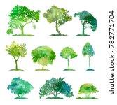 watercolor set of deciduous... | Shutterstock . vector #782771704