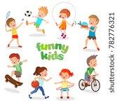 uniformed happy kids playing... | Shutterstock . vector #782776321