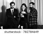 happy friends  pretty girl and... | Shutterstock . vector #782784649