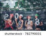 beautiful women in new year... | Shutterstock . vector #782790031