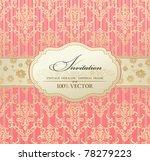 Stock vector invitation vintage label vector frame pink pastel blank frame and label vintage sticker emblem 78279223
