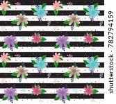 floral striped seamless pattern....