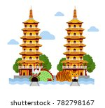 dragon and tiger temple at... | Shutterstock .eps vector #782798167