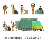 garbage man collecting city... | Shutterstock . vector #782810434