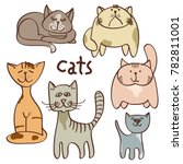 colorful doodle cats isolated...   Shutterstock . vector #782811001