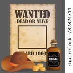 cowboy wild west wanted poster... | Shutterstock .eps vector #782824711