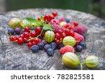 strawberry berries. beautiful  ...   Shutterstock . vector #782825581