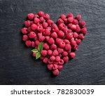 heart made of raspberry on...   Shutterstock . vector #782830039