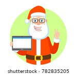 victory  santa claus holding... | Shutterstock .eps vector #782835205