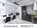 kitchenette and dining space in ... | Shutterstock . vector #782842177