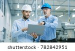 head of the project holds... | Shutterstock . vector #782842951