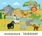 wild animals with landscape  ... | Shutterstock .eps vector #782850469