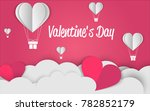 valentine's day paper cut... | Shutterstock .eps vector #782852179