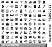 100 bank icons set in simple... | Shutterstock . vector #782852311