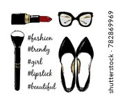 vector fashion sketch set. hand ... | Shutterstock .eps vector #782869969